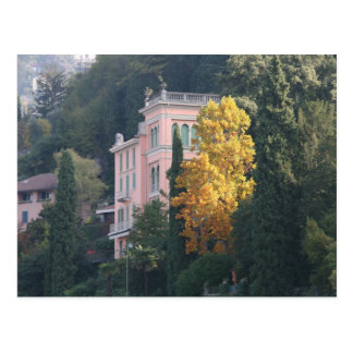 Pink Villa in Fall Postcard