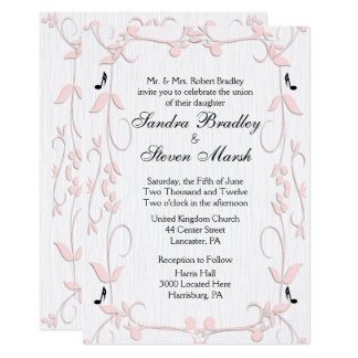 Pink Vines and Music Notes Wedding Invitation