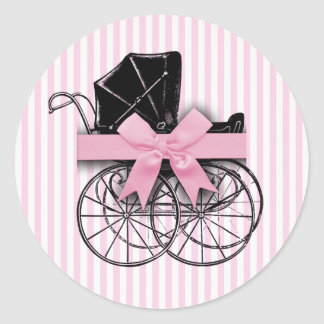 Pink Vintage Baby Carriage Pram with Ribbon Round Sticker