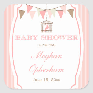 Pink vintage banners baby shower stickers