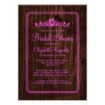 Pink Vintage Barn Wood Bridal Shower Invitations Card