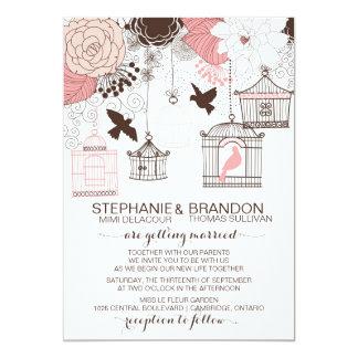 Pink Vintage Birdcages Floral Wedding Invitation