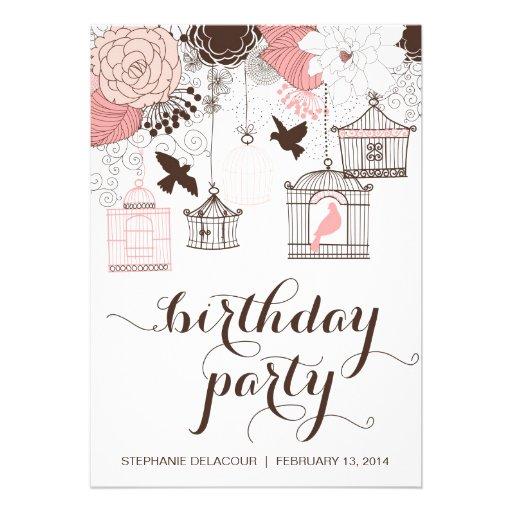 Pink Vintage Birdcages Flowers Birthday Invitation