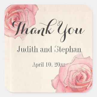 Pink Vintage Botanics,Rose Florals, Wedding Favors Square Sticker