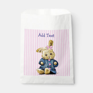 Pink Vintage Bunny Rabbit Candy Favor Bag