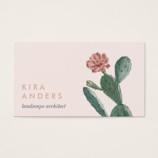 Pink Vintage Cactus Business Cards