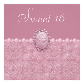 Pink Vintage Cameo Pearls Sweet 16 Announcement