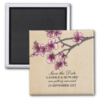Pink Vintage Cherry Blossoms Save the Date Magnet