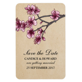Pink Vintage Cherry Blossoms Save the Date Rectangular Photo Magnet