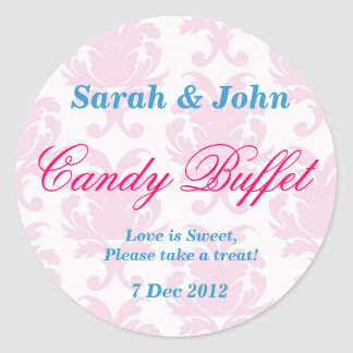 Pink Vintage damask Candy Buffet Sticker