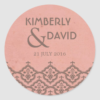 Pink Vintage Damask Wedding Label
