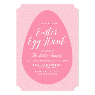 Pink Vintage Easter Egg Hunt 13 Cm X 18 Cm Invitation Card