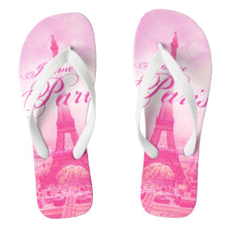 Pink Vintage Eiffel Tower Thongs