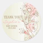 Pink Vintage Floral Baby Shower Thank You Sticker