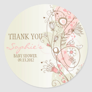 Pink Vintage Floral Baby Shower Thank You Sticker