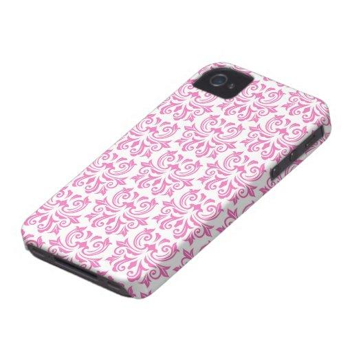 Pink vintage floral damask pattern BlackBerry case