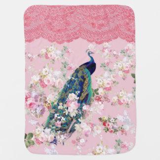 Pink vintage floral elegant lace colorful peacock baby blanket