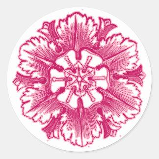 Pink Vintage Flourish Envelope Seals Round Stickers