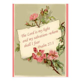 Pink Vintage Flowers Bible Verse Postcard