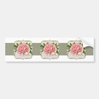 Pink Vintage Flowers  Wide Bumper Sticker