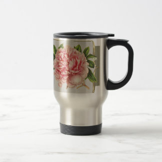 Pink Vintage Flowers  Wide Travel Mug