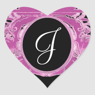 Pink Vintage Frame Any Initial Monogram V07 Sticker