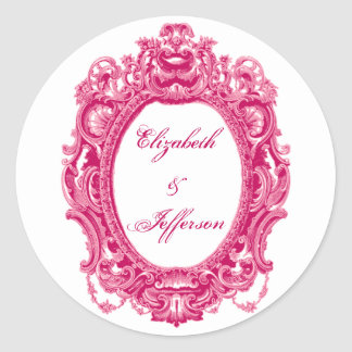 Pink Vintage Frame Monogrammed Stickers