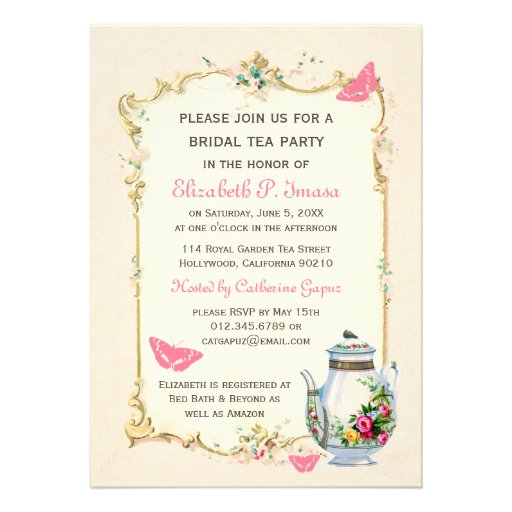 Pink Vintage French Bridal Tea Party Personalized Invites