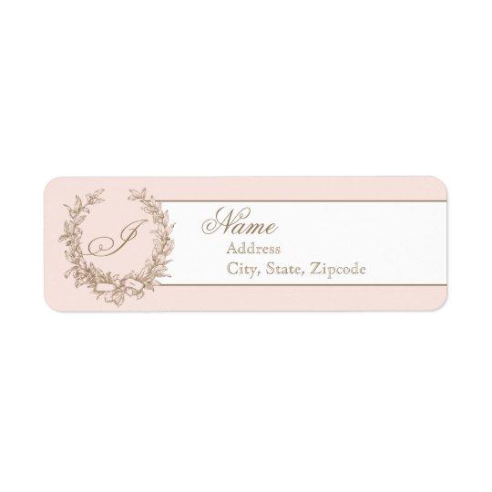 Pink Vintage French Return Address Label