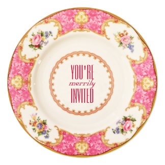 Pink Vintage Holiday English Tea Party Invitation