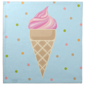 Pink Vintage Icecream Illustration Napkin