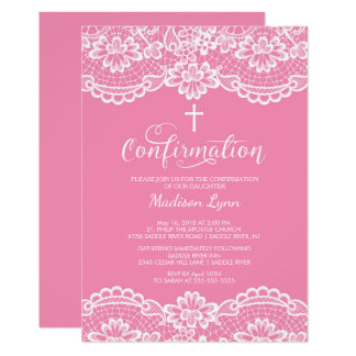 Pink Vintage Lace Confirmation Invitation