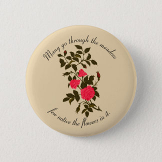 Pink Vintage Ornamental Roses 6 Cm Round Badge