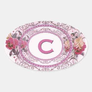 Pink Vintage Pansies Floral Monogram Wedding V20 Oval Sticker