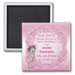 Pink Vintage Princess Baby Shower Save the Date Square Magnet