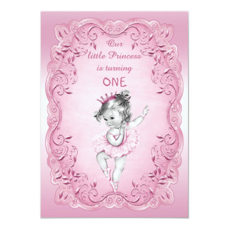 Pink Vintage Princess Ballerina 1st Birthday Party 13 Cm X 18 Cm Invitation Card