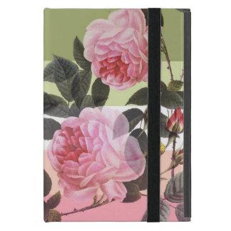 Pink vintage rose flowers in pastel color strips iPad mini case