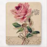 Pink Vintage Rose Mouse Pad