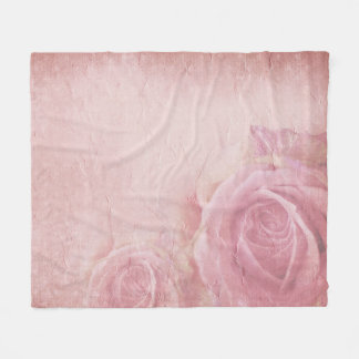 Pink Vintage Roses Fleece Blanket