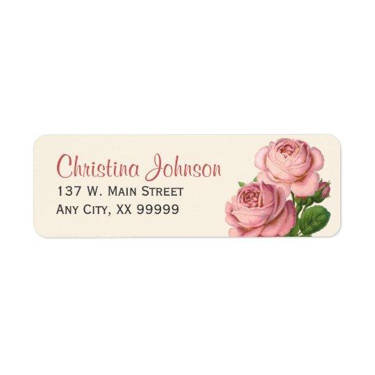Pink Vintage Roses Floral Return Address Labels