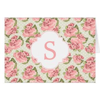 Pink Vintage Roses Monogram Card
