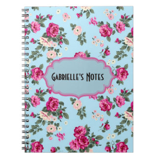 Pink Vintage Roses On Blue Background Spiral Notebook