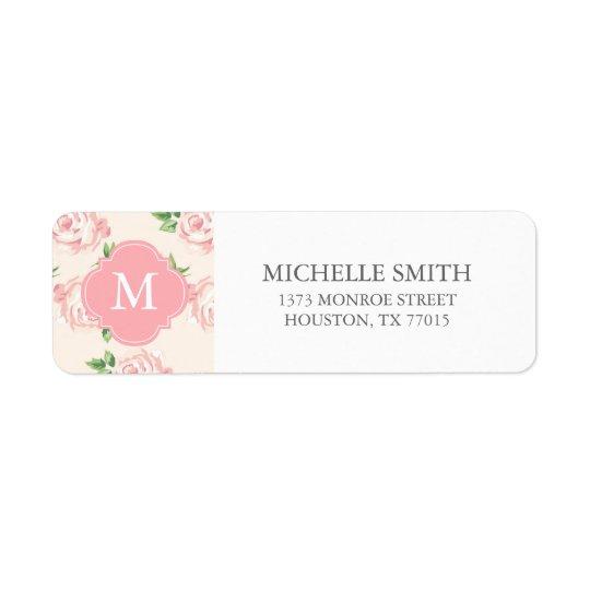 Pink Vintage Roses Pattern Monogrammed Return Address Label