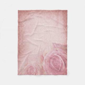 Pink Vintage Roses Small Fleece Blanket
