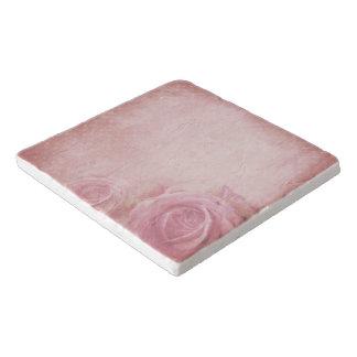 Pink Vintage Roses Stone Trivets