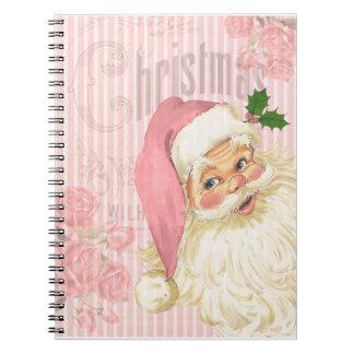 Pink Vintage Victorian Santa Claus Roses Notebook