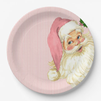 Pink Vintage Victorian Santa Claus Shabby Paper Plate