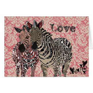 Pink Vintage Zenya & Zeb Valentine Greeting Card