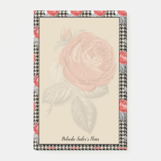 Pink vintages roses and houndstooth design post-it notes