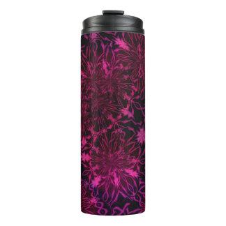 Pink Violet Black Retro Floral Flower Pattern Thermal Tumbler